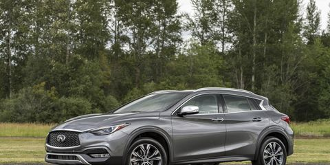 The 2018 Infiniti QX30 has a 208-hp, 2.0-liter turbocharged four-cylinder under the hood with a seven-speed dual-clutch transmission.