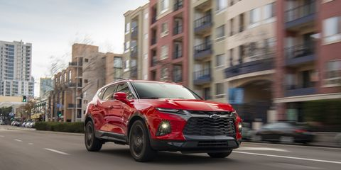 The Blazer is back, baby, with nice styling, 4500-pound towing capability, seating for five and a modular cargo area. Pricing starts at $29,995 including destination. Sporty RS trim level shown.