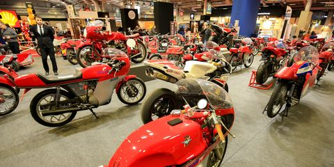 """There were motorcycles galore at Retromobile this year, many of them set to be auctioned off by Artcuriel. """"Rétromobile 2019 by Artcurial Motorcars"""" is the official Salon Rétromobile auction. It began Friday with the collectors' car sale, followed on Saturday with the sale of 90 MV Agusta motorcycles, and concluded Sunday with the sale of a collection of F1 drivers' helmets and race suits. Here are the motorcycles, more MV Augustas than you've ever seen in one place."""