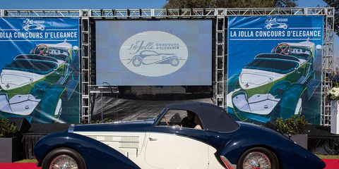Best in Show at La Jolla was Peter Mullin's 1939 Bugatti Type 57SC Aravis Cabriolet