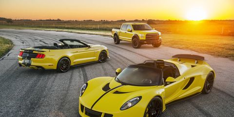 Hennessey Performance may be bringing the most horsepower per car with its Venom GT, VelociRaptor and supercharged Mustang.
