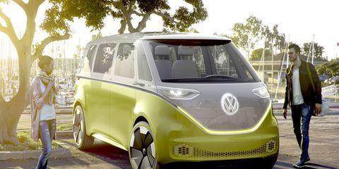 VW previewed a Microbus-styled pure-electric I.D. BUZZ concept at the Detroit auto show, with a predicted range of 270 miles on a full charge and autonomous tech planned.