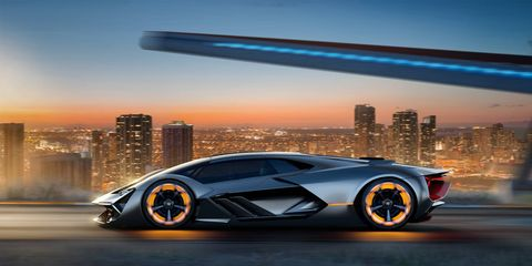 """Lamborghini partnered with MIT to explore ideas for future super cars. Those ideas are embodied in the theoretical """"Terzo Millennio"""" you see here. The name means, """"Third Millenium"""" in Italian. That's 983 years from now, so they have some time."""