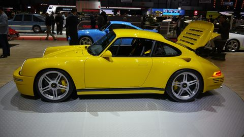 German carmaker and tuner RUF introduced two new models at Geneva, the CTR Anniversary and the 991.2 GTS-based RUF GT. This is the CTR Anniversary.