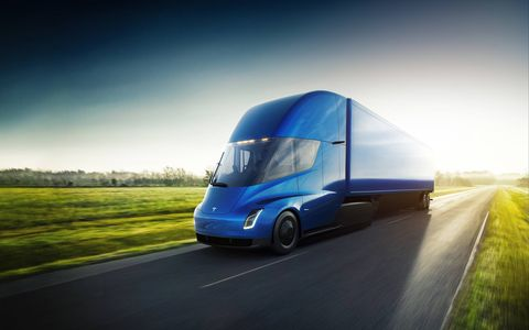 The all-electric Tesla Semi can hit 60 mph in a remarkable-for-a-big rig five seconds. Range is a promised 500 miles fully loaded. It'll go into production in 2019.