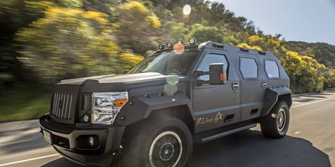 No, the Rhino GX is not bulletproof, but it sure looks like it is. It rides on a Ford Super Duty chassis and looks ready to destroy the city... or at least cruise through it in attention-getting style.
