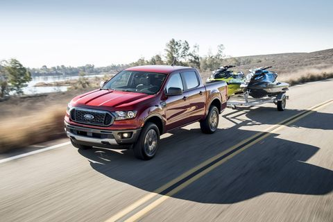 With a 270-hp, 310-lb-ft 2.3-liter EcoBoost four driving the rear- or all four wheels through a 10-speed automatic, the new 2019 Ford Ranger carries up to 1860 pounds of payload and tows up to 7500 pounds of trailer weight.