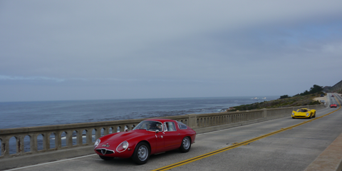 The best thing about the Pebble Beach Concours is that you can see almost all the cars in it for free on The Tour, a long drive around Monterey then down and back up the coast. It's lovely!