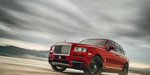 """The Rolls-Royce Cullinan offers driver and passenger alike the Rolls patented """"Magic Carpet Ride,"""" both on road and off. Here it is going over some dirt, just to prove it can."""