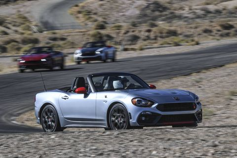 Fiat makes small economical cars, yes, but also soups them up in Abarth trim, turning the inexpensive into the inexpensively thrilling. Fiat brought a bunch of us out to Willow Springs racetrack in the California desert to sample the wares. Here's a 124 Spider Abarth.