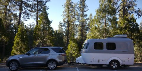 The Nest is Airstream's first fiberglass trailer. It is stylish and relatively lightweight at 3400 pounds, but it costs $47,900. That's luxury. We towed it with an $80,000 Land Rover Discovery HSE. Both were fully loaded. For the record, we were not.