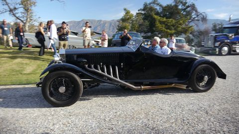 Art Center College of Design in Pasadena, Calif. celebrated its 70th year of iconic design with yet another Car Classic, this one featuring cars by Art Center grads. Here, Jay Leno, who is not an alumnus, makes an entrance in a Merlin-powered Rolls Royce.