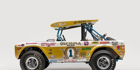 """The """"Legends of Los Angeles"""" exhibit, open now at the Petersen Automotive Museum, celebrates race cars built in the City of Angels. There were a lot of them. This is Parnelli Jones' Oly Bronco in which he won two Baja 1000s."""