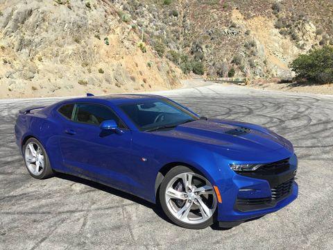 Land vehicle, Vehicle, Car, Chevrolet camaro, Blue, Muscle car, Motor vehicle, Automotive design, Hood, Performance car,