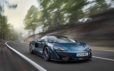 Behold, the entry level McLaren, the 570 GT. Not only is it stickered at right around 200 grand, it is set up to be the most comfortable daily driver-like car the company's ever made, with quieter tires, a little room for luggage and a pop-open glass hatch in back. But it still drives like a supercar.