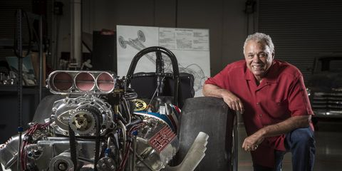 """Don """"The Snake"""" Prudhomme raced the famous Shelby Super Snake Top Fuel dragster almost 50 years ago. Three years ago he sent it back to its original builders for a complete restoration. Now the car is all done and ready to run again. Snake plans to """"at least do a burnout"""" this fall at the NHRA Hot Rod Reunion Oct. 21-23 in Bakersfield, Calif."""
