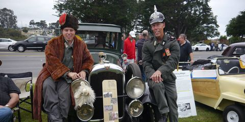 If Pebble Beach has the most beautiful cars in the world, the Concours d'LeMons, a few miles and a couple of socio-economic levels away, has the ugliest. These guys had some sort of Eastern European Cold War spy schtick going on. Anyone who took a photo was accused of being a spy. They've come in prior years. Love them and their taste in cars.