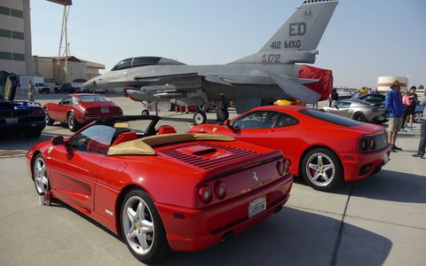By now you know that this is Ferrari's 70th anniversary. But this is also the 70th anniversary of the US Air Force and of Chuck Yeager's breaking the sound barrier. So The Ferrari Club SW Region brought the three together at Edwards Air Force Base last Saturday, the actual day Yeager went Mach 1.