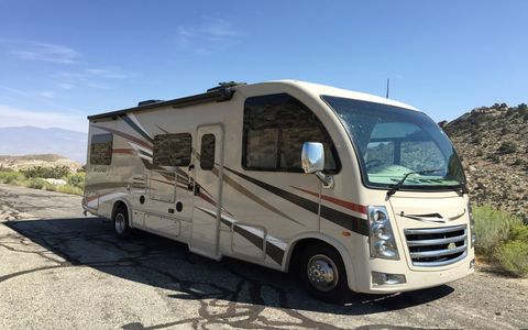 The RV industry is experiencing its best year since they started paying attention to years. The Thor Vegas is a very comfortable 26-foot Class A motor coach, with sleeping for six, a big bathroom and all the rest of the comforts of home, on the road. Here it is at 6,000 feet.