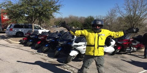 When functionality matters more than fashion, call Aerostich. It'll keep you warm and dry as a pizza pie. This is me on a 24-degree morning in Texas for the Honda Gold Wing intro.