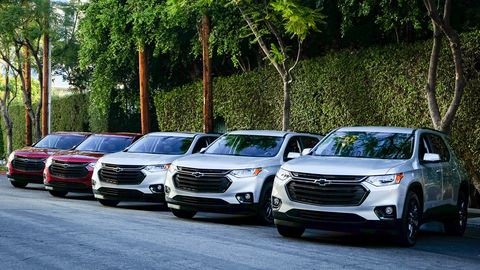 Moments earlier, this row of Chevy Traverses outside the Sunset Marquis stood by as Little Steven left for work.