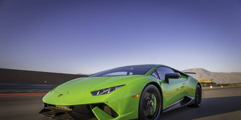 To make a Huracan into a Huracan Performante, Lamborghini lops off 88 pounds, adds 30 hp and 30 lb ft of torque, stiffens the suspension and adds active aerodynamics. 0-62 mph in 2.9, top speed 201 mph, 6:52 Nurburgring lap time. Oh so bene!