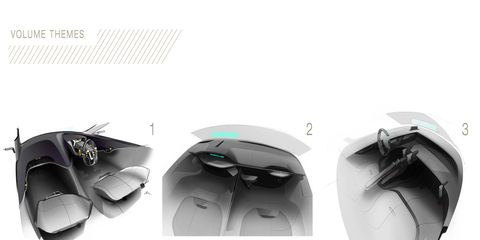 Sketches, pictures and graphics from the Ford GT interior team.