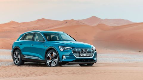 The 2019 Audi e-tron is a little bigger than the Q5 SUV.