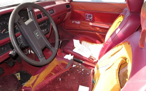 Extremely red interiors were popular in Japanese cars of the early 1980s; later in the decade, some Chrysler products had even redder interiors.