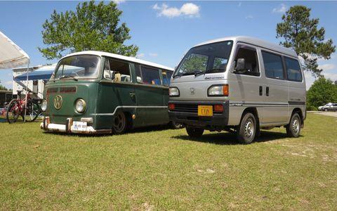 It has a much smaller footprint than a slammed VW Transporter, but is taller.