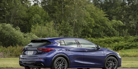 The 2018 Infiniti QX30 has a 2.0-liter four-cylinder engine making 208 hp and 258 lb-ft of torque.