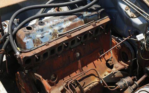 Motor vehicle, Engine, Rust, Automotive engine part, Iron, Metal, Automotive fuel system, Nut, Fuel line, Wire,
