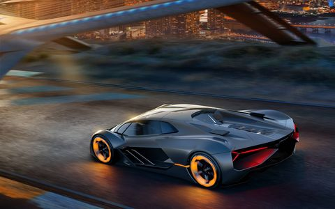 "Lamborghini partnered with MIT to explore ideas for future super cars. Those ideas are embodied in the theoretical ""Terzo Millennio"" you see here. The name means, ""Third Millenium"" in Italian. That's 983 years from now, so they have some time."