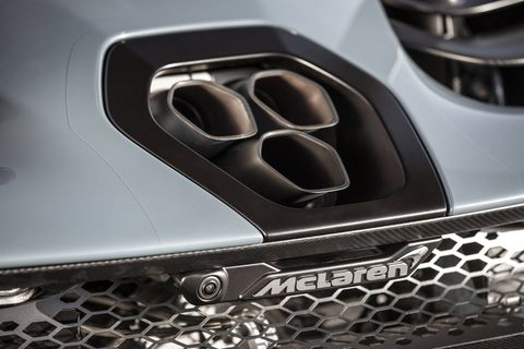 The unique Inconel and titanium exhaust exits through ultra-low carbon fiber rear deck, enhancing aerodynamic performance