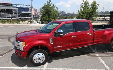 This 2017 Ford F-350 pickup has a 6.2-liter V8, four-wheel drive and a six-speed automatic transmission.