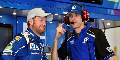 Dale Earnhardt Jr. and crew chief Greg Ives have work to do now that they're on the front row in Daytona.