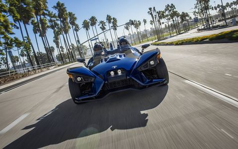 The Polaris Slingshot is a three-wheeled freak of fun, priced between $20,000 and $30,000.