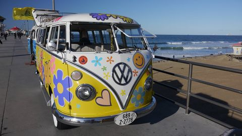 The Kowabunga Van Klan's third annual gathering at the Huntington Beach Pier saw 60 vintage Volkswagen vans lined up in the SoCal sun. It was righteous.
