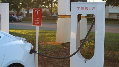 The fastest way to charge a Tesla is at one of the Tesla Supercharger stations scattered around the country. I used the one in Vacaville, on the way to and from Thunderhill.