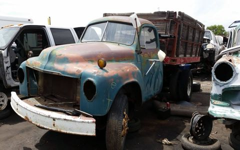 1949 was the first model year of the 2R. I couldn't find a build tag on this truck, so I'm going with the junkyard's assessment of it as a '49 model.
