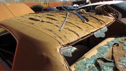 California's climate is hard on Detroit vinyl roofs from this era, splitting the vinyl and then allowing water in to rust the hell out of the roof.