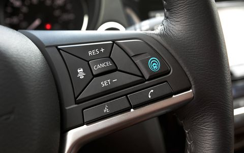You can activate ProPilot Assist with the big blue button on the steering wheel.