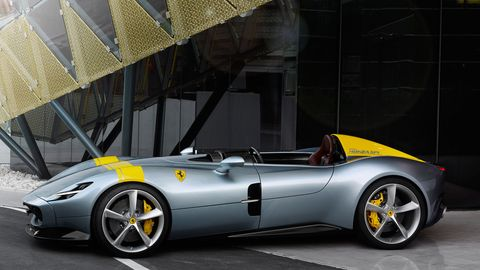 """The Ferrari Monza SP1 and SP2 are both roofless """"barchettas."""" One seats one, the other seats two."""