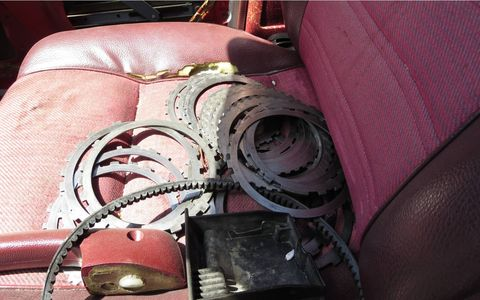 Maybe these parts come from inside this car's transmission, maybe not.