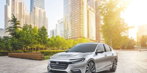 The 2019 Honda Insight prototype will make its debut at the 2018 Detroit auto show. Honda has not released fuel economy figures for the third-generation hybrid, which uses a 1.5-liter Atkinson gasoline engine and an electric motor, but the automaker expects them to be competitive with other hybrids in the segment.