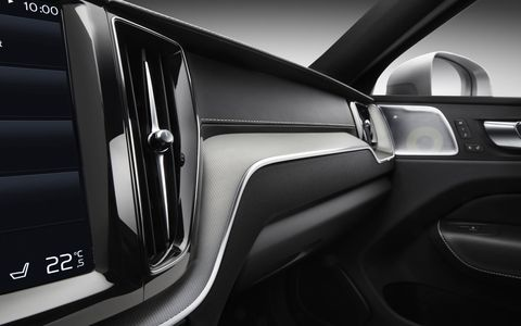 The Volvo XC60's interior is full of leather, tech and shining trim.