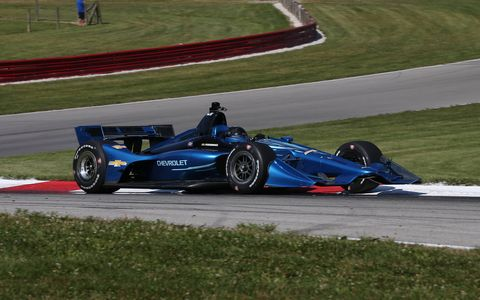 The 2018 Indy car pounds the pavement at Mid-Ohio Sports Car Course.