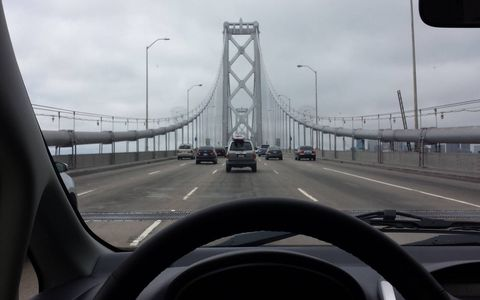 What range anxiety? Here's the i-MiEV crossing the San Francisco Bay Bridge for a Mission burrito run.
