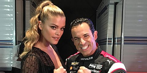 """Swimsuit model Nina Agdal, left (not that you couldn't tell which was the swimsuit model), and IndyCar driver Helio Castroneves, right (not a swimsuit model), will battle on ABC-TV's """"Celebrity Family Feud"""" this summer."""