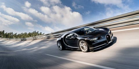 Thanks to the 300-hp bump over the Veyron, the Bugatti Chiron's limited top speed is nearly as fast as the Veyron's unlimited top speed.